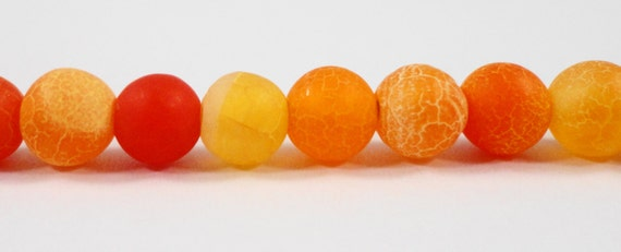 """Orange Agate Gemstone Beads 10mm Round Agate Beads, Matte Agate Stone Beads, Frosted Fire Agate Beads on a 7 1/4"""" Strand with 19 Beads"""