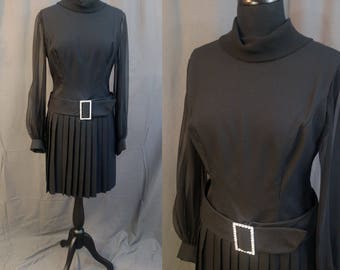 1960s Mr. Frank New York Black vintage Cocktail Dress / Pleated skirt, Chiffon sleeves, neck line / Rhinestone Belt Buckle/ 60s Medium