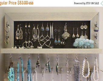 ON SALE Beautiful Sun Bleached Stained Wall Mounted Jewelry Organizer, Wall Organizer, Jewelry Holder, Necklace Holder, Earring Organizer