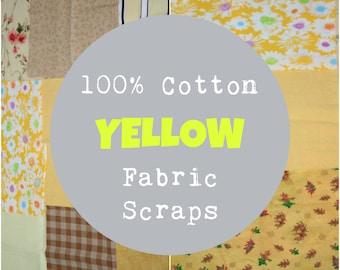 Yellow Fabric Scraps, 1/2 Pound of Scraps, Yellow Fabric Scrap Bundle, 100% Cotton