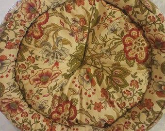 Antique Floral Tan Pet Bed- Medium Snuggle Cat Bed Dog Bed Resist Fashion Design