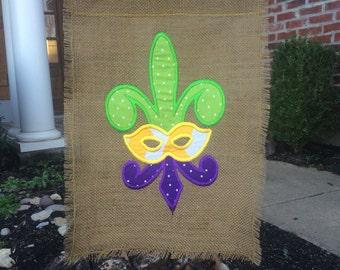 Custom Burlap Mardi Gras Fleur De Lis Garden Flag With Chevron and Polka Dot Print Fabric