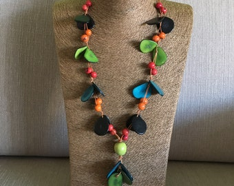 Tagua Nut Statement Necklace / Tagua Nut Jewelry / Tagua Nut  Necklace / Organic Jewelry / Tagua Nut Jewelry