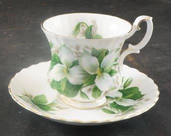Royal Albert Fine Bone China Demitasse Cup and Saucer Trillium Pattern
