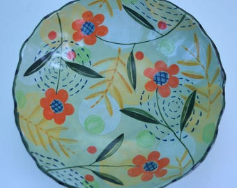 Bowl. 4 Feet. Orange Flower. Dots.Plaid.
