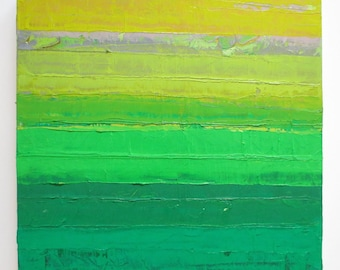 Abstract oil painting, abstract landscape, green abstract painting, greenery, fields of green