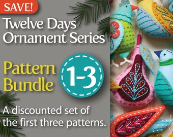 Twelve Days Series 1-3 PDF Pattern Bundle: Partridge & Pear, Turtle Dove and French Hen