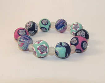 SALE Item - Spring Colors Pastel Beaded Bracelet - handmade beads style #003