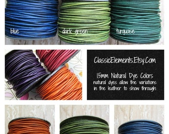 1.5mm Natural Dye Leather Cord, Distressed Leather, 1.5mm Leather Cord, Natural Dye Leather Cord, 1.5, Leather Cord, Round Leather Cord