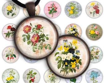 75% OFF SALE Spring Flowers - Digital image for pendants collage printable download 20mm 25mm circle 1 inch image glass charms resin magnets
