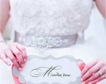 Wedding Chair Signs Madame and Monsieur for the Bride and Groom Sweet Heart Table Chairs