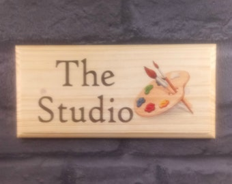 The Studio  Plaque / Sign / Gift - Art Craft Paint Shed Lady 505