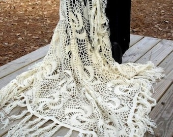 Squared crochet shawl  off white  stole wrap afghan blanket