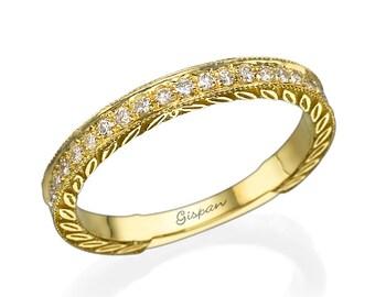 Vintage Wedding Band, Wedding Ring, Milgrain Ring, Stacking Ring, Engagement Ring, Antique Ring, Texture Ring, 14k Yellow Gold Ring
