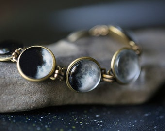 Moon Bracelet - Luna, Full Moon, Antique Bronze or Silver - Science Jewelry, Lunar Phases - As Seen On IFLS, Original Moon Phase Bracelet
