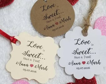 "Personalized Favor Tags 2"" or 2x2"", Wedding tags, Thank You tags, Favor tags, Gift tags, Bridal Shower Favor Tags, love is sweet"
