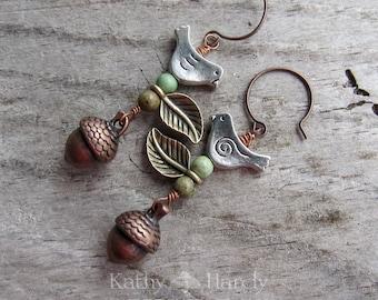 Autumn Day || Zen | Earthy | Organic | Copper Acorn and Bird Earrings | Boho | Hippie | Limited Edition | Earrings Under 20 | Woodland Birds