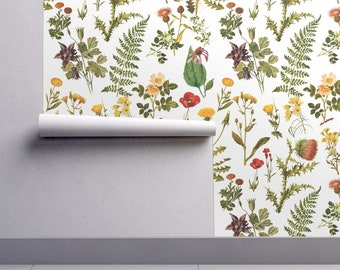 Vintage Botanicals Wallpaper - Vintage Floral Small By Redbriarstudio - Custom Printed Removable Self Adhesive Wallpaper Roll by Spoonflower