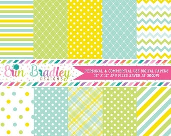 80% OFF SALE Blue Yellow Green Digital Paper Set Commercial Use Digital Backgrounds Instant Download
