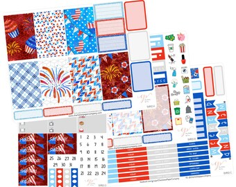 Big Happy Planner Stickers / Fourth of July Stickers / Planner Stickers / Summer Planner Stickers / Weekly Sticker Kit / BHP65