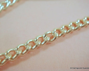 5ft Silver Chain Curb Link Steel 4x2.5mm Not Soldered - 5 ft - STR9029CH-S5