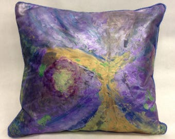 Handpainted Metallic Pillow