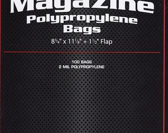 "100 Magazine Bags - 8 3/4"" x 11 1/8"" x 1 1/2"" Flap - Polypropylene Bags - 2ml - Storage - Books - Artwork - T-Shirts - Photographs - Movies"