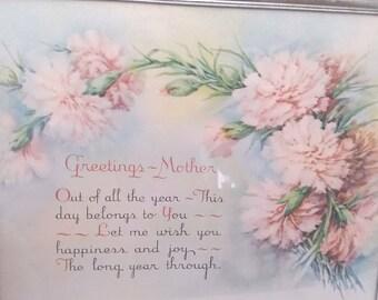 Vintage Mother's Day Poem Floral Print