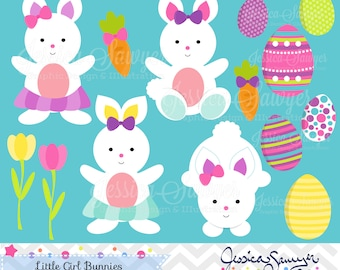 INSTANT DOWNLOAD, easter clipart, little girl easter bunny clip art, for commercial use, personal use