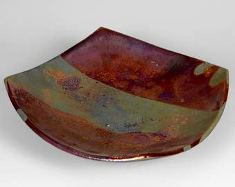 Copper metallic raku bowl
