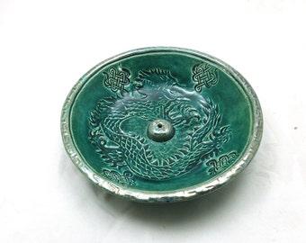 Dragon Raku Incense Burner Handmade Ceramic Pottery