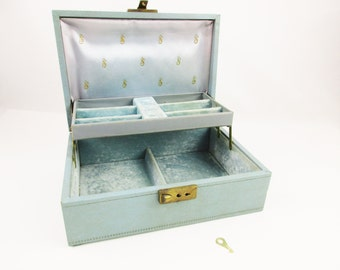 Vintage Baby Blue Jewelry Box - Faux Leather Outside With Velvet Inside - Ring Slots - Key - Display - Jewelry Box -  Blue Inside and Out