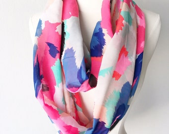 Abstract Floral Print Lightweight Infinity Scarf - Handmade from Voile - For Her, Fall, Feminine, Winter, Gift