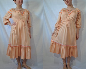 70s Boho Dress 70s Bohemian Dress 70s Peasant Dress Vintage 70s Dress 70s Hippie Dress Orange Gypsy Dress 70s Festival Dress 70s Hippy Dress
