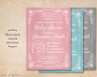 Printable Baby Shower Invitation - 5x7 - Antique Frame - Coral Pink, Aqua Blue, Neutral Gray - Elegant Formal Floral Old-Fashioned Storybook