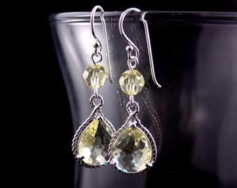 Bridesmaid Jewelry Lemon Yellow Glass Teardrop Wedding Earrings