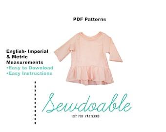 Peplum Top PDF Pattern 3/6M-4Y