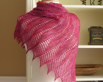 Lace Shawl Knitting Pattern PDF - Mistral Shawl -  asymmetric triangle wrap cowl scarf - easy lace knitting pattern no charts