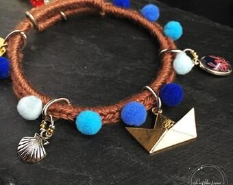 Bracelet PomPoms shades of blue / Brown