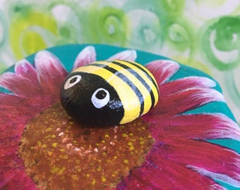 Pollenating Bees on Wildflowers Hand Painted Stones