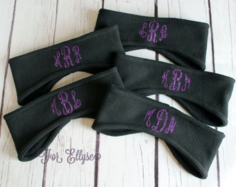 Monogrammed Fleece Headband - Personalized cold weather gear - Ear Warmer