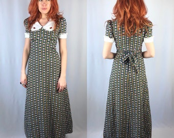 Vintage 1970's Maxi Floral Dress Small