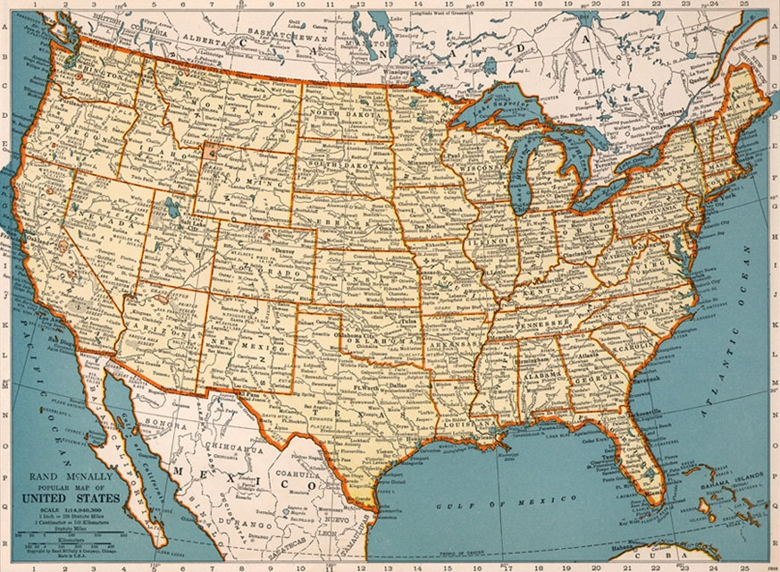 Old map of United States of America map Digital Vintage Art