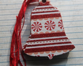 18 Bell shaped Gift Tags red glitter and peppermints paper over chipboard Christmas Hang Tags
