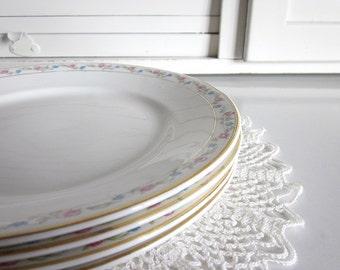 Antique White Dinner Plates Blue Pink Flowers Floral Gold Trim Homer Laughlin Dinnerware Dishes Cottage Home Decor Fine Bone China Wedding