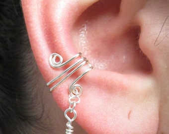 March Birthstone, Birthstone Ear Cuff, Aquamarine Ear Cuff, Birthstone Jewelry, Swarovski Elements Birthstone, Cartilage Earring