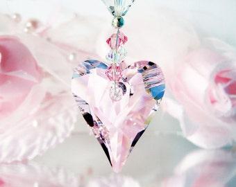 Swarovski Crystal Suncatcher, Pink Rear View Mirror Charm, Car Accessory, Crystal Sun Catcher, Hanging Crystals
