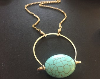 Turquoise and Gold Cresecnt Pendant Necklace