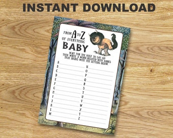 Where the Wild Things Are Baby Shower Game