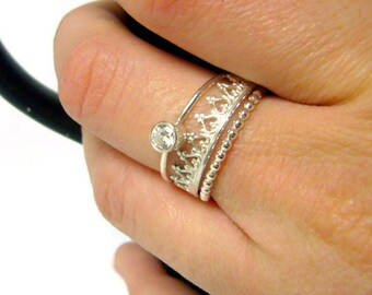 Silver Crown ring princess ring Sterling Silver stacking ring set cubic zirconia ring stacking rings sterling silver ring